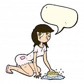 image of cinderella  - cartoon cinderella scrubbing floors with speech bubble - JPG