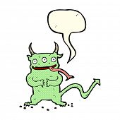 foto of demons  - cartoon little demon with speech bubble - JPG