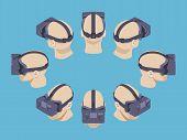 foto of isometric  - Set of the isometric virtual reality headsets - JPG