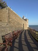 picture of pews  - Row of benches pathway seascape photographed at Sidmouth in Devon - JPG