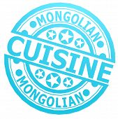 foto of mongolian  - Mongolian cuisine stamp image with hi - JPG