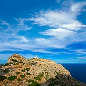 stock photo of lighthouse  - Majorca Formentor Cape Lighthouse in Mallorca North at Balearic islands of Spain - JPG