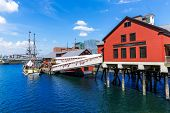 stock photo of office party  - Boston Tea Party in Massachusetts USA - JPG