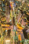 pic of intersection  - Bird eyes view of Bangkok main traffic intersection at night - JPG