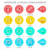 foto of pisces horoscope icon  - zodiac signs vector elements flat style and bright color icons - JPG