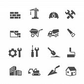 image of skid-steer  - Construction Icons Set on White Background - JPG