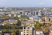 picture of portland oregon  - The Freemont bridge and industrial area Portland Oregon - JPG