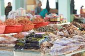 image of stall  - Traditional asian fish market stall full of dried seafood - JPG