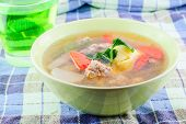 pic of curd  - clear soup with bean curd and minced pork and drink - JPG