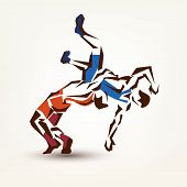 foto of wrestling  - wrestling symbol vector silhouette of two athletes - JPG