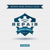 pic of shield  - Logo elements the shield and repair of gears vector illustrations - JPG