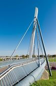 pic of suspension  - modern new bicycle and pedestrian suspension bridge in zwolle netherlands - JPG