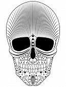 picture of sugar skulls  - Illustration of a decorative black and white modern style sugar skull - JPG