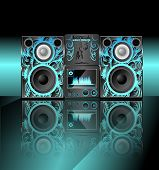 foto of subwoofer  - music center with a pattern on the panel with a mirror image with a blue background - JPG