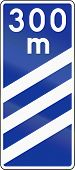 stock photo of countdown  - Polish highway countdown marker announcing highway exit in 300 meters - JPG