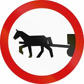 stock photo of carriage horse  - Polish sign prohibiting thoroughfare of horse drawn carriages - JPG