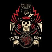 picture of clubbing  - Colored vector illustration street fighting club emblem with cylinder hat skull brass knuckles razors stars and inscription - JPG