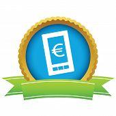 stock photo of tariff  - Gold euro phone logo on a white background - JPG