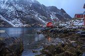 stock photo of lofoten  - The coast of the Lofoten Islands in Norway - JPG