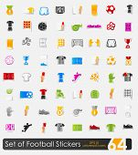 stock photo of offside  - Set of football vector sticker icons with shadow - JPG