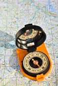 stock photo of compasses  - The compass on the map - JPG