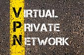 stock photo of vpn  - Business Acronym VPN as Virtual Private Network. Yellow paint line on the road against asphalt background. Conceptual image - JPG
