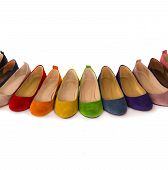 image of shoes colorful  - Row Of Colored  Leather Shoes Over White Background - JPG