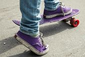 stock photo of skate board  - Young skateboarder in jeans standing on his skate - JPG