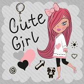 picture of hair bow  - Cute girl with red hair and a bow - JPG