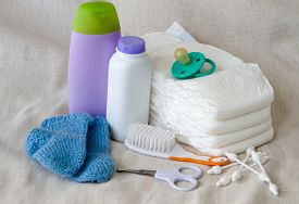 stock photo of nipples  - Group of things for baby diapers - JPG