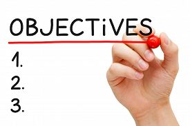 foto of objectives  - Hand writing Objectives to do list with marker isolated on white - JPG