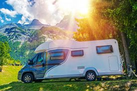 stock photo of recreational vehicle  - Camper Camping - JPG