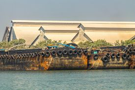 foto of barge  - Empty cassava barges floating in river  - JPG