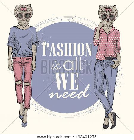 Two vector models with dog head in a sunglasses and text on background. Fashion is all we need.