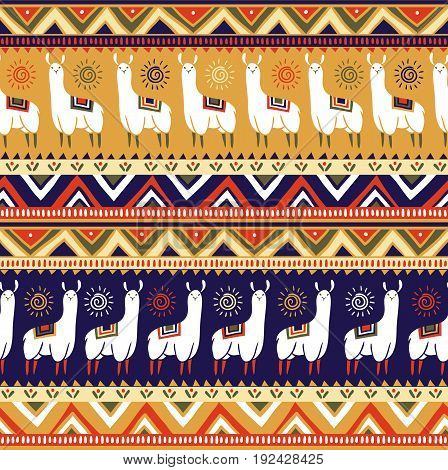 Seamless pattern with lamas and geometrical ornaments. Vector ethnic background. All the elements are hidden under the mask.