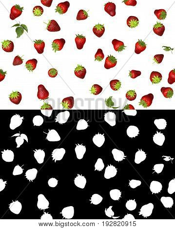 Photorealistic seamless in all directions 3D illustration of strawberry with alpha channel for easy selection and editing