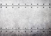 Steel Metal Plates With Rivets Seamless Background, 3D, Illustration poster