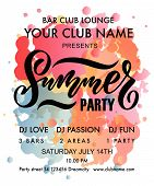 Vector Illustration Of Summer Party Poster. Summer Partys Badge/tag/icon. poster