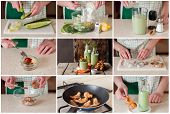 A Step By Step Collage Of Making Chilled Cucumber Soup With Prawns poster