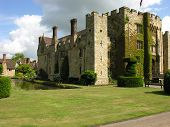 stock photo of hever  - Hever Castle showing side view and battlements - JPG