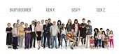 Diversity Generations People Set Together Studio Isolated poster
