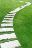 image of stepping stones  - A flagstone walkway - JPG