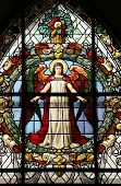 pic of stained glass  - Beautiful stained glass window at the German Church  - JPG