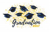 Vector Illustration Of Graduate Caps And Confetti On A White Background. Caps Thrown Up. Congratulat poster