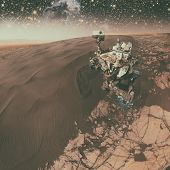 Curiosity Rover Exploring The Surface Of Mars. poster