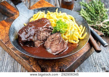 Traditional German braised beef cheeks