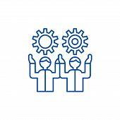 Development Team Line Icon Concept. Development Team Flat  Vector Symbol, Sign, Outline Illustration poster