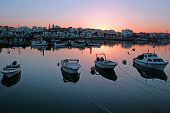 Harbor from Lagos in the Algarve Portugal at sunset poster