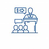 Presentation Event Line Icon Concept. Presentation Event Flat  Vector Symbol, Sign, Outline Illustra poster