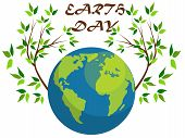 Planets And Green Leaves. April 22. Happy Earth Day. Earth Day Card. Earth Day Design. poster